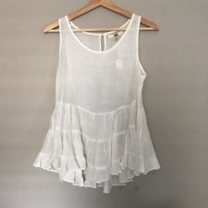 NWT Cream ruffled swing tank